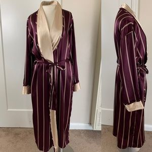 Vintage Victoria's Secret long satin striped robe
